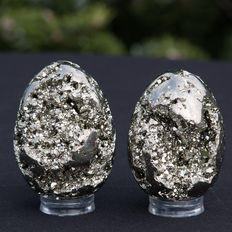 Fine Peruvian Pyrite eggs - from the famous Huanzala mine - 6,1 and 6,5cm - 429gm  (2)