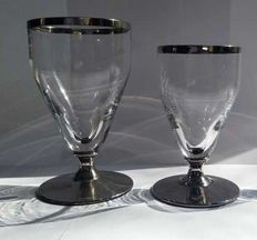 20 Vintage wine glasses with silver edge and stem