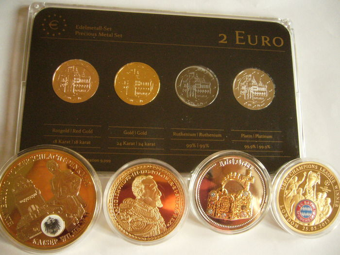 Germany - 2 Euro 'Bremen' 2010 (4 plated coins) - Precious Metal Set & Lot of 4 gold plated medals