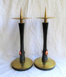Two large copper candlesticks - church candlesticks - wood with hammered copper