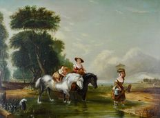 After Augustus Wall Callcott (1779-1844) - Crossing the stream.