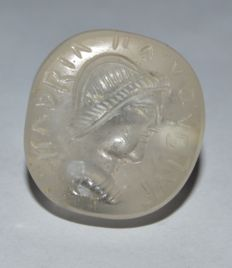 Antique Ancient style Sassanian Crystal Seal Bead 19th Century