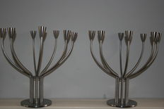 Knut & Marianne Hagberg for IKEA – set of two 8-arm stainless steel 'Stockholm' candelabra