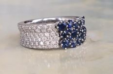 "Chimento – ""Lou Lou"" 18 kt white gold ring with diamonds and sapphire, approx. 2.16 ct - ring size 17.25-17.50 mm"