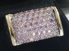 18 kt white gold ring with amethyst, size: 17.5 mm