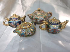 Lot of 4-part Cloisonee style miniature travelling jug