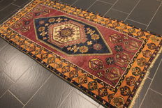 Wonderful old hand-knotted Oriental rug, Turkey, Anatolia, ca. 1930. Old Rug 110 x 230 cm, wool on wool carpet.