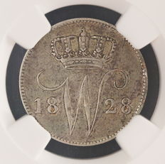 The Netherlands – 25 cents 1828B Willem I, in NGC slab.