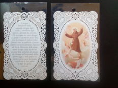 50 holy cards, finely perforated paper (paper lace) with prayer