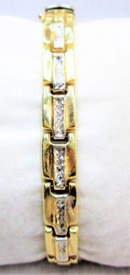 14 kt yellow/white gold bracelet, wearable length: 18.5 cm