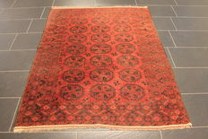 Wonderful decorative old hand-knotted Art Deco, Afghan, Oriental carpet, measurements: 138 X 175cm, Afghanistan circa 1930