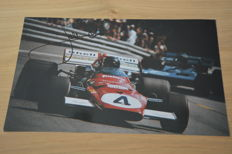 Jacky Ickx/Ferrari/F1 - very nice hand-signed 20 x 30 cm photo in frame