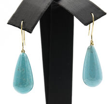 18 kt gold – Earrings – Pear shaped turquoises – Diameter:  11.90 mm (approx.).