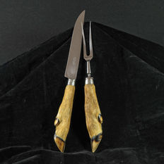 Cutting knife and fork, stainless steel - wild serving cutlery
