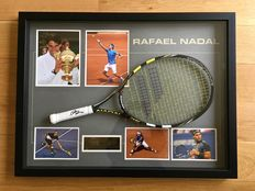 Rafael Nadal Autographed Tennis Racket. With Grand Slam Photos - Framed