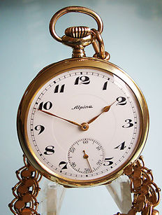 Alpina men's pocket watch from  1926 + gold-coloured, link chain.