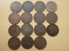 The Netherlands - 2 1/2 cents 1894/1941 (15 coins) Wilhelmina