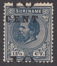 Suriname 1898 - Support issue with overprint deviation - NVPH 29b