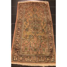 Wonderful handwoven Kashmir silk carpet 170 x 90 cm, made in Kashmir Qom silk carpet, genuine natural silk carpet, Tappeto Tapis silk