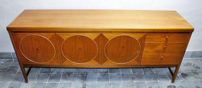 Patrick Lee For Nathan Furniture U2013 Modernistic Teak Sideboard With  Geometrical Pattern