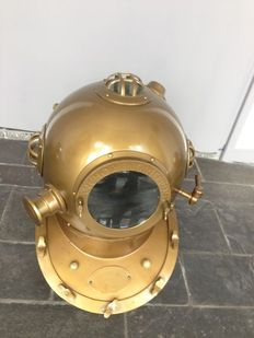 Copper diving helmet - copper, brass and glass