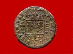 Spain – Rare 4 maravedis bronze coin minted in the name of Felipe V, in the mint of Valencia in 1719. Beautiful and scarce.