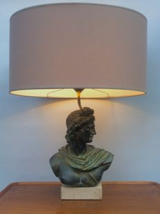 Beautiful large French neoclassical style lamp, Greek bust, France, late 20th century