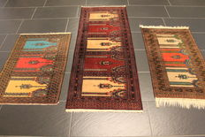 Three beautiful handwoven Oriental carpets Bukhara silk shine, made in Pakistan 60 x 100cm and 62 x 185cm and 65 x 95cm