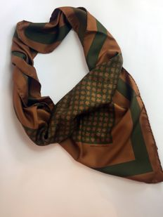 Hermès - Brown and Green Floral Scarf