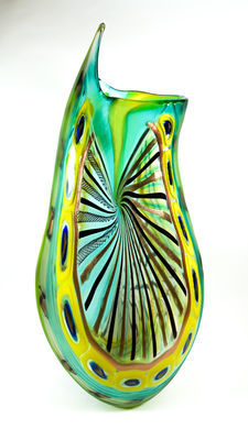 Fabiano D'Este (D'Este glassworks) - large battuto vase (unique piece - 64 cm)