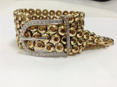18k white and yellow gold bracelet, belt type, diamond 3,05ct and citrine 26,4ct .