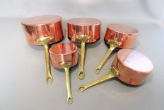 Five red copper saucepans - 2nd half of the 20th century