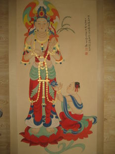 Hand-painted scroll painting, reproduction - China - 2nd half 20th century