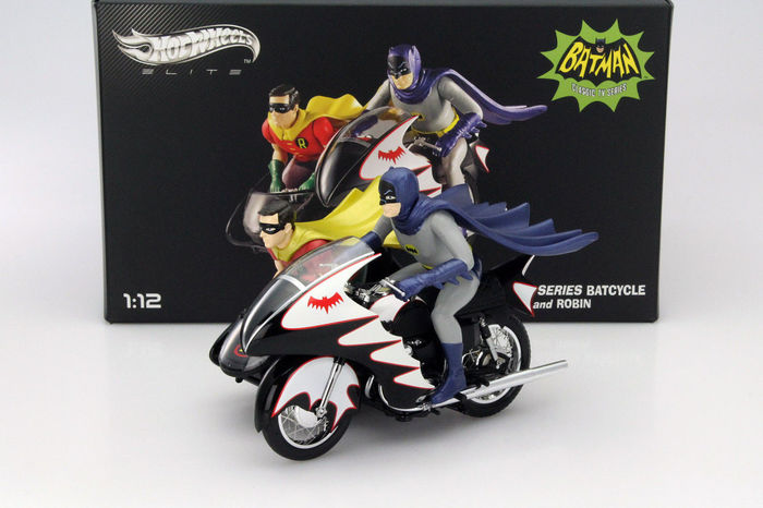 Batman - Hotwheels Elite - Scale 1/12 - Batman Classic TV Series Batcycle with Batman and Robin