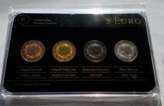 Latvia – 2 Euro 2014 'Precious Metal' (plated, 4 different coins) in set