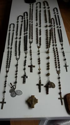 Antique Collection of 15 rosaries and 1 x cross box