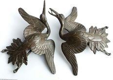 Pair of bronze birds