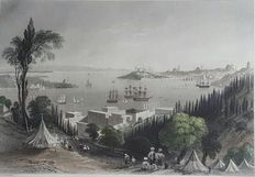 R.Wallis engraver after W.H.Bartlett (1809 -1854) - Ottoman Empire / Turkey, Istanbul View From the top of Ciragan Palace - 19th century