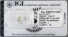 0.92 ct brilliant cut diamond  J   I2   ** Low Reserve **