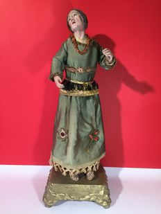 Neapolitan sculpture, in terracotta, horsehair and wood - 19th century