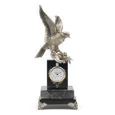 Bird of prey figure capturing a prey, with clock of the Alberty brand, manufactured in sterling silver on a marble pedestal -