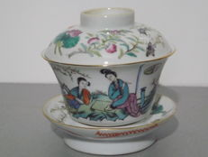 tasse a the couvert famille rose - Chine - ca 1920 (Republic period)