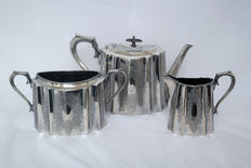 An English three-piece silver plated tea set by James Dixon and Sons, Sheffield - ca. 1890