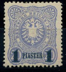 "German post Turkey 1884 - ""coat of arms in oval"" 1 Pia. with blue-black overprint - Michel 3b"