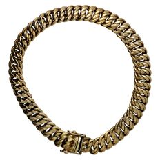 Yellow gold double curb link bracelet in 14 kt - 19.5 cm