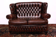 2 Seat leather Chesterfield style sofa, England, last quarter 20th century
