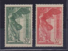 France 1937 The Winged Victory of Samothrace, complete series – Yvert 354/355, Enzo Diena signature