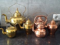 6 copper kettles-Holland-19th century