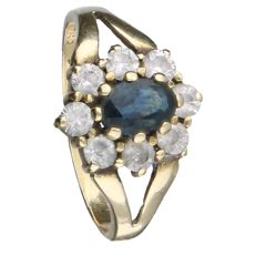 Yellow gold ring  in 14 kt, set with blue spinel and 8 zirconia stones - 15.25 mm