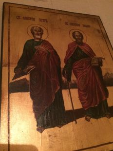 20th century ortodox russian icon of Apostle Peter and Pavel hand painted